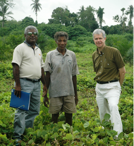 Guadalcanal Plains Oil Palm Project, Solomon Islands.  Fieldwork for the Pacific Islands Forum Secretariat Land Management and Conflict Minimisation Project, June 2007.  John Richard Satekala (left) – landowner and case study co-author, Samuel Tiri (centre) – landowner and oil palm 'outgrower' with Spike Boydell (right).