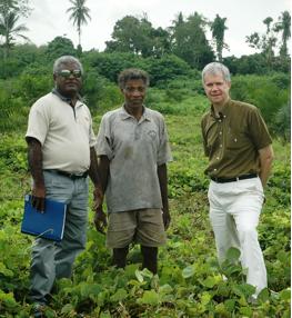 Guadalcanal Plains Oil Palm Project, Solomon Islands.  Fieldwork for the Pacific Islands Forum Secretariat Land Management and Conflict Minimisation Project, June 2007.  John Richard Satekala (left) – landowner and case study co-author, Samuel Tiri (centre) – landowner and oil palm 'outgrower' with Spike Boydell (right).