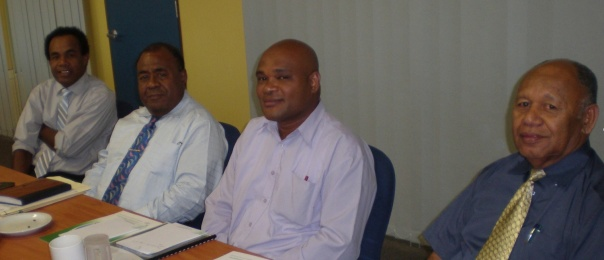 Ulai advising the Ministry of iTaukei Affairs on the iQoliqoli Compensation Policy.  (Left to Right) Ulai, Alipate Qetaki (General Manager, iTaukei Land Trust Board, Fiji), Pita Tagicakirewa (Development Division,  Ministry of iTaukei Affairs, Fiji), and Ratu Meli Bainimarama (Permanent Secretary, Ministry of iTaukei Affairs, Fiji). [photo Spike Boydell]