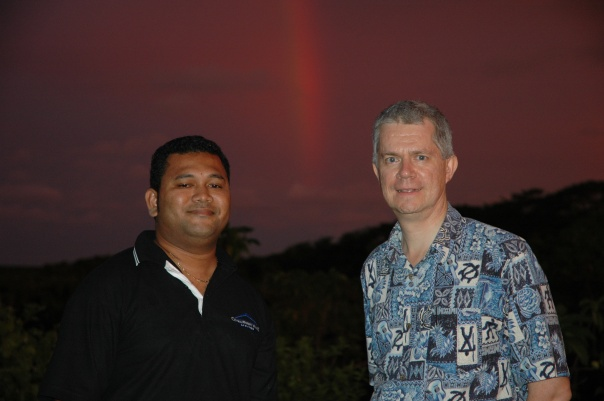 Lui Seru (left), from Central Property Valuers, Apia, with Spike in Samoa.