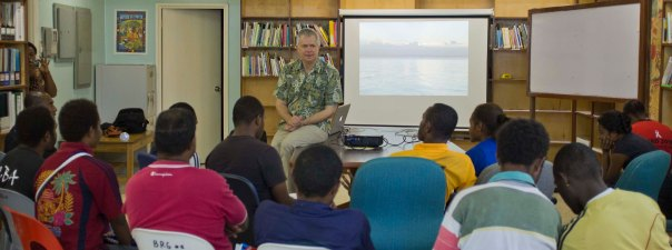 Spike leading a land tenure workshop for the Bismarck Ramu Group, Madang, PNG. [photo Gary Lee]