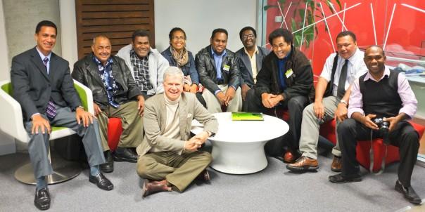Land Resource Compensation: A Pacific Regional Symposium.  L to R: Pene Baleinabuli (Fiji), William Singh (Fiji), Stanley Waleanisia (Solomon Islands), Spike Boydell (on floor), Flora Kwapena (PNG), Joseph Foukona (Solomon Islands), Menzies Samuel (Vanuatu), Paula Raquekai (Fiji), Solomoni Nata (Fiji), Richard Dick (Vanuatu).