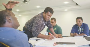 Honiara CASLE Symposium August 2014 CASLE Regional VP Buddley Ronnie in workshop mode